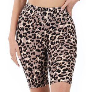 NEW| Microfiber Leopard Print Biker Shorts